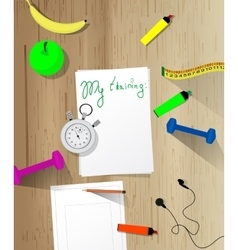 Workout and fitness dieting copy space diary vector image