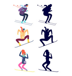 Young people teenagers are engaged winter sports vector