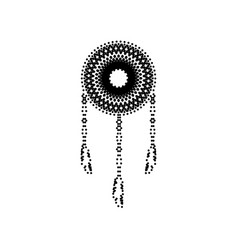 dream catcher sign black dotted icon on vector image