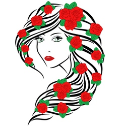 Fashionable women with roses on hair vector image