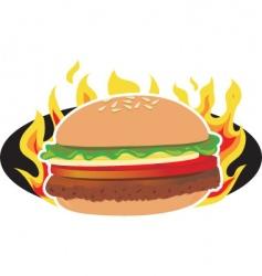 flaming hamburger vector image vector image