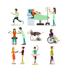 flat icons set of medical staff and vector image vector image