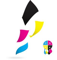 Flying paper CMYK color design vector image vector image