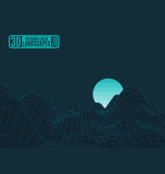 neon polygonal grid beryuzovye mountains work vector image vector image