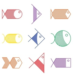 Set of colorful fish icons vector image vector image