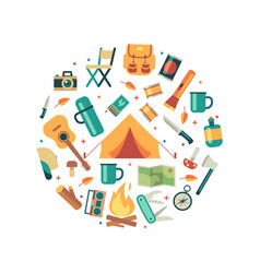 tourists equipment travel and hiking icons vector image vector image