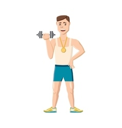 Athlete with dumbbell icon cartoon style vector image