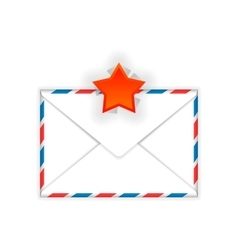Envelope with red star mark flat icon vector image vector image