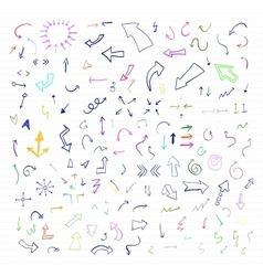 set of colorful hand drawn arrows vector image vector image