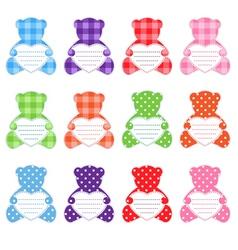 twelve teddy bears vector image vector image