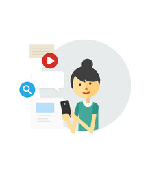 Web surfing girl with a phone vector