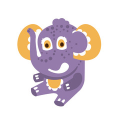 cute cartoon baby elephant character sitting on a vector image