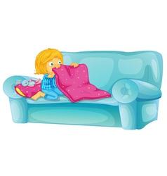 Girl on sofa vector image