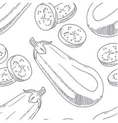hand drawn seamless pattern with eggplant vector image