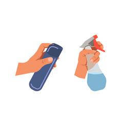 Hands holding bottle sprays for cleaning on white vector