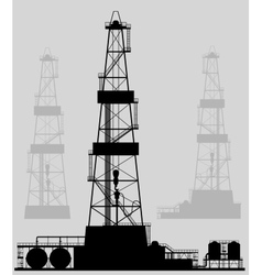 Oil rigs silhouette detailed vector