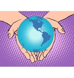 Planet Earth in hands South and North America vector image vector image