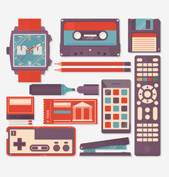 retro equipments accessories and things icons set vector image vector image