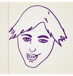 Scribble happy face vector image vector image