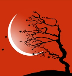 The tree bending by the wind vector