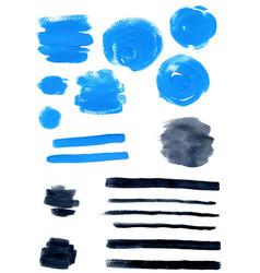 blue and black watercolor blots vector image