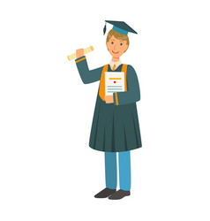 boy in mantle gown and academic square cap holding vector image