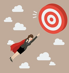 Business Woman Super Hero Fly to Big Target vector image vector image