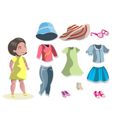 cute girl with different choosing clothes vector image