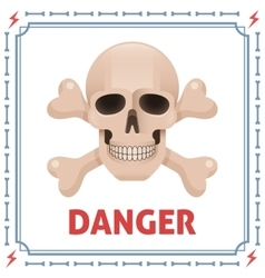 Danger symbol with skull and crossbones vector image