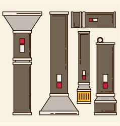 flashlight set in flat style vector image