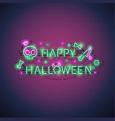 happy halloween neon sign vector image