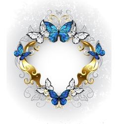Jewelry Banner with Blue Butterflies Morpho vector image vector image