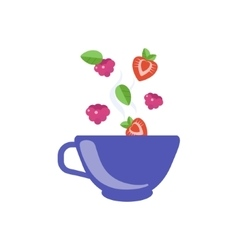 Red Fruit Tea In Blue Cup vector image