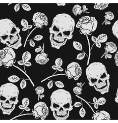 Roses and Skulls Seamless Pattern vector image vector image
