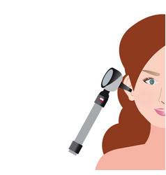 An otoscope being used to inspect her ear vector