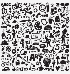 art tools doodles set vector image