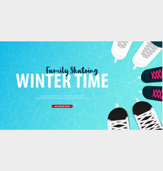 banner with ice skates figure skating texture of vector image