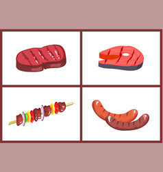 barbecue meal set four color vector image