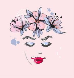 Beautiful girl with pink flowers spring wreath on vector