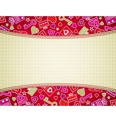 beige valentine background with hearts and gifts vector image