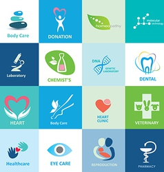 big set medical icons collection emblems vector image