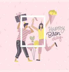 Birthday card yoang with woman and man holding vector