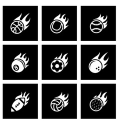 Black fire sport balls icon set vector