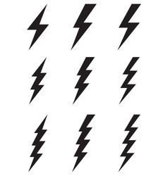 black thunder and bolt icons vector image