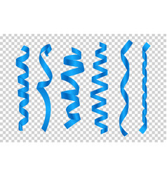 Blue silk ribbons satin ribbons collection vector