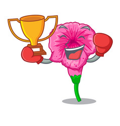 Boxing winner petunia in a mascot flower basket vector