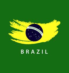 Brazil flag brush logo template design vector