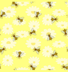 bright colored seamless pattern with cute bee vector image