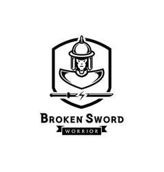Broken sword warrior logo with ancient soldier vector