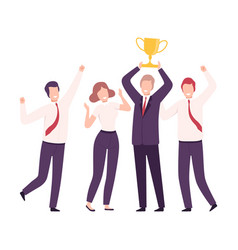 business team celebrating victory with trophy cup vector image
